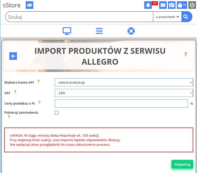 Import Produktow Z Aukcji Allegro Do Sklepu Internetowego Instrukcja Oprogramowanie Sklepu Internetowego Sstore
