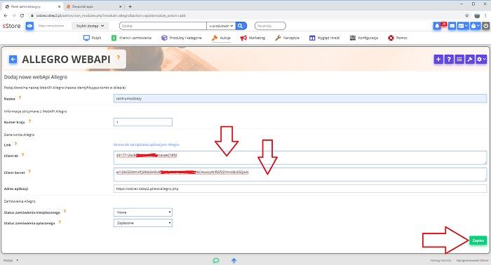Konfiguracja Modulu Allegro W Sklepie Internetowym Instrukcja Oprogramowanie Sklepu Internetowego Sstore